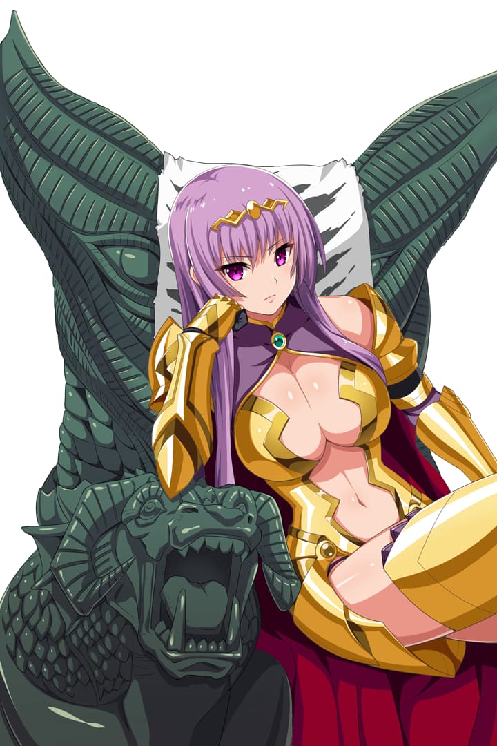 1girl armor armored_boots bangs bikini_armor black_gloves blunt_ends boots breastplate breasts cape center_opening chin_rest circlet claudette_(queen's_blade) cleavage_cutout closed_mouth curvy elbow_gloves g-string gloves gold_armor large_breasts long_hair navel navel_cutout official_art outline purple_hair queen's_blade queen's_blade_unlimited queen's_blade_white_triangle red_cape shoulder_armor sidelocks sitting solo spaulders straight_hair thighs thong throne vambraces violet_eyes