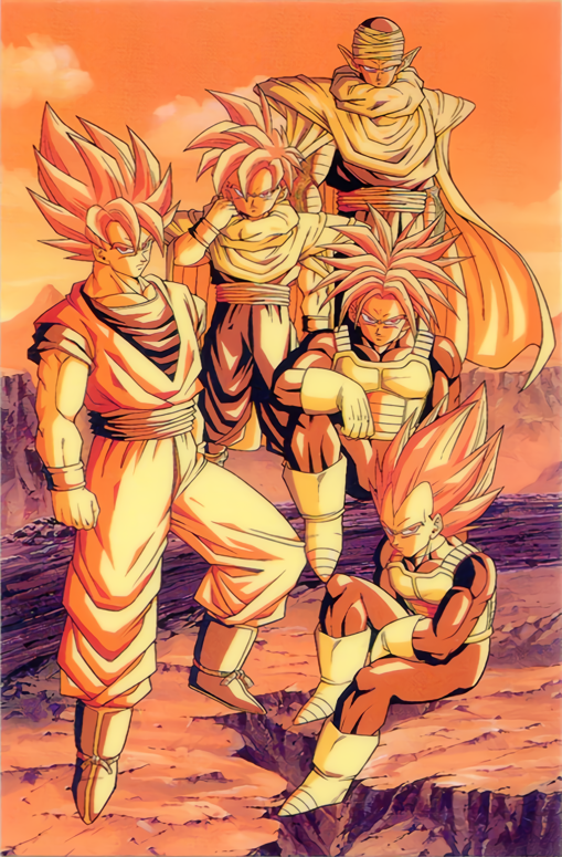 1990s_(style) bodysuit boots cape day dougi dragon_ball dragon_ball_z father_and_son gloves looking_at_viewer muscle namek official_art orange_theme outdoors piccolo pointy_ears saiyan saiyan_armor short_sleeves sitting son_gohan son_gokuu spiky_hair standing super_saiyan super_saiyan_1 toriyama_akira trunks_(future)_(dragon_ball) turban vegeta widow's_peak wristband