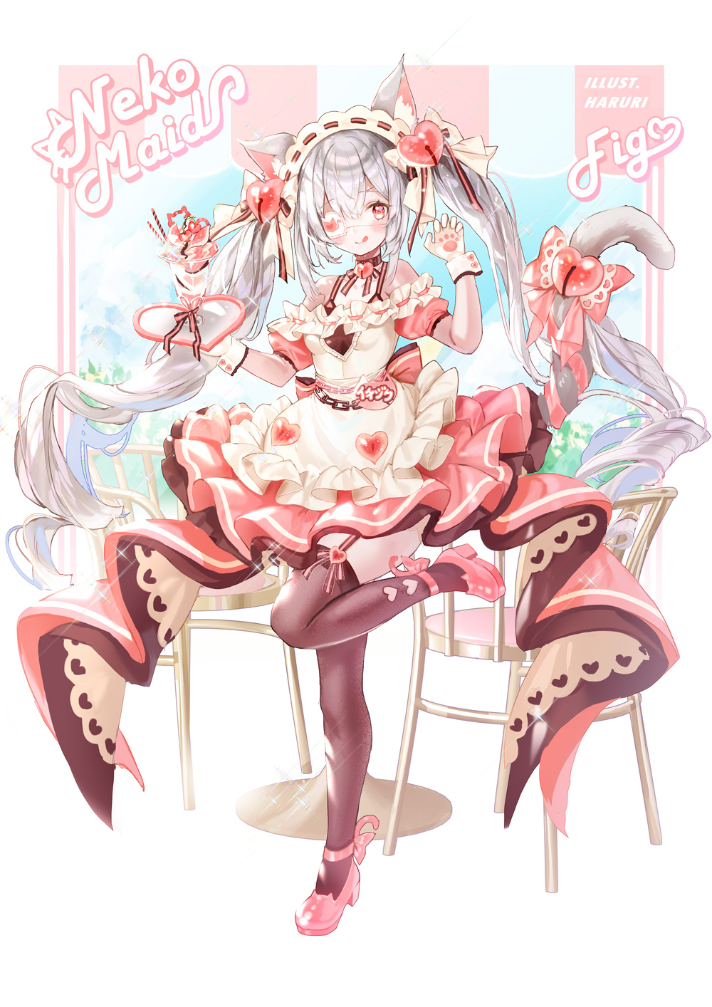 1girl :q animal_ear_fluff animal_ears apron artist_name bangs bare_shoulders blush bow brown_legwear cat_ears cat_girl cat_tail chair closed_mouth commentary_request eyebrows_visible_through_hair eyepatch frilled_apron frills full_body gloves hair_between_eyes hair_bow hair_ornament hands_up haruri heart heart_hair_ornament high_heels highres holding holding_tray long_hair looking_at_viewer maid medical_eyepatch original parfait pink_footwear pink_skirt pleated_skirt puffy_short_sleeves puffy_sleeves red_eyes ringlets shirt shoes short_sleeves silver_hair skirt sleeveless sleeveless_shirt smile solo standing standing_on_one_leg table tail thigh-highs tongue tongue_out tray twintails very_long_hair waist_apron white_apron white_bow white_gloves white_shirt
