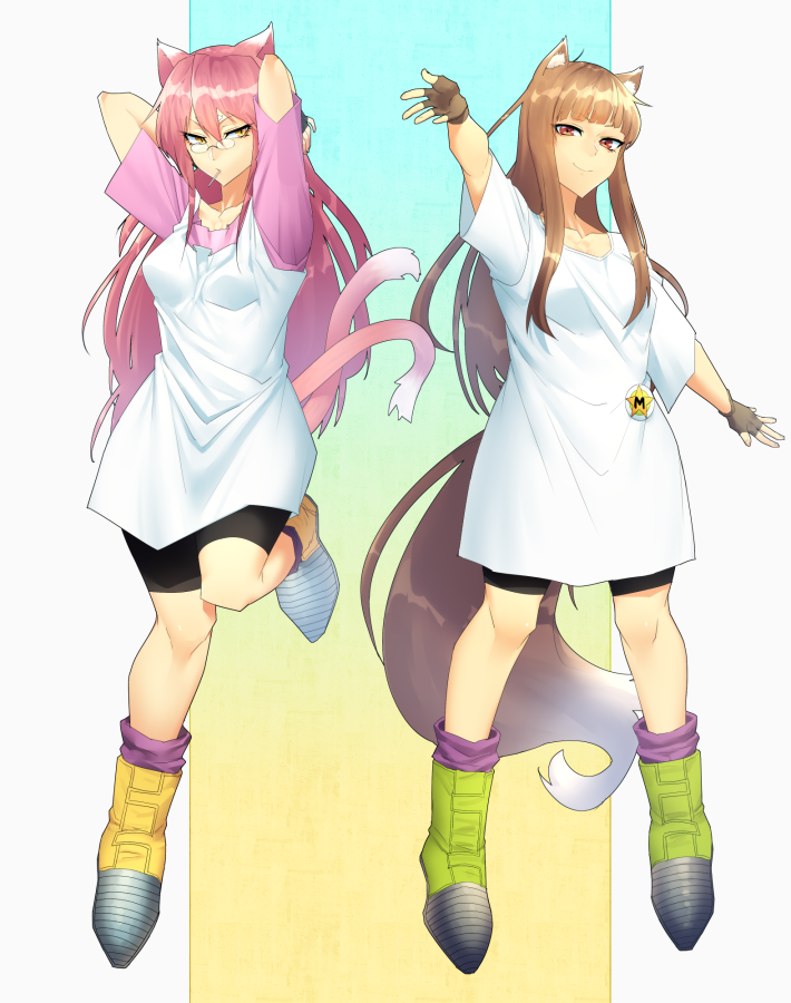 2girls animal_ears baggy_pants bangs bike_shorts black_gloves blazblue blunt_bangs boots breasts candy cat_ears cat_girl cat_tail commission cosplay crossover dragon_ball dragon_ball_z fingerless_gloves food glasses gloves hands_in_hair holo houjoh_(7th-heaven) kokonoe_(blazblue) lollipop long_hair loose_socks multiple_girls multiple_tails oversized_clothes pants pince-nez pink_hair purple_legwear red_eyes rimless_eyewear shirt sidelocks small_breasts smile spice_and_wolf t-shirt tail tank_top videl videl_(cosplay) wolf_ears wolf_girl wolf_tail yellow_eyes