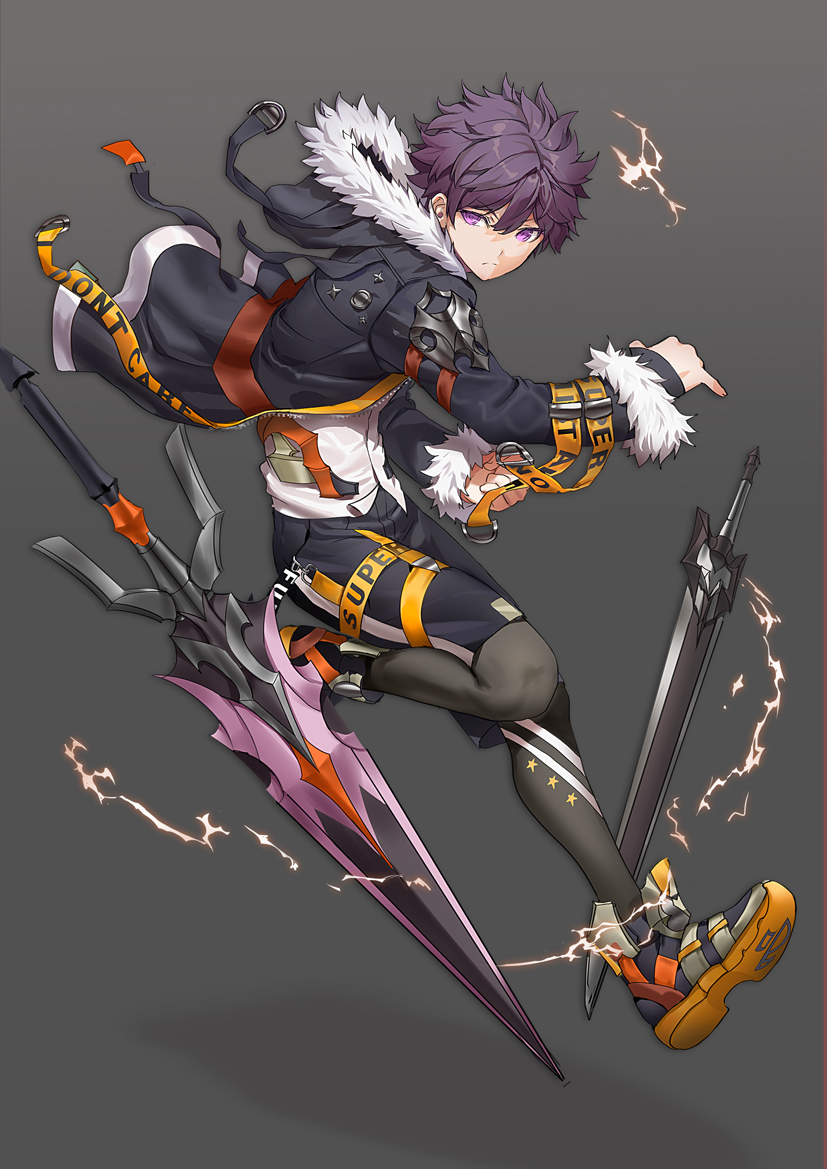 1boy armor black_jacket black_shorts clenched_hand closed_mouth electricity english_text fingernails floating fur-trimmed_hood fur-trimmed_jacket fur-trimmed_sleeves fur_trim gradient gradient_background hair_between_eyes hood hood_down jacket lloule male_focus open_clothes open_jacket original pauldrons purple_hair shoes short_sword shorts shoulder_armor single_pauldron sleeves_past_wrists sneakers solo sword violet_eyes weapon zipper