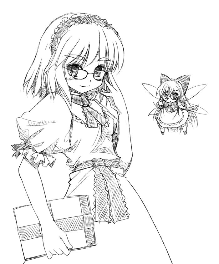 >:) alice_margatroid apron bangs bespectacled book bow bowtie dress fairy_wings glasses grimoire hair_bow hairband hovering looking_at_viewer matching_shanghai monochrome necktie puffy_short_sleeves puffy_sleeves sash shanghai shanghai_doll short_sleeves simple_background solo touhou waist_apron white_background wings yu-ki yuuki_(snowhouse)