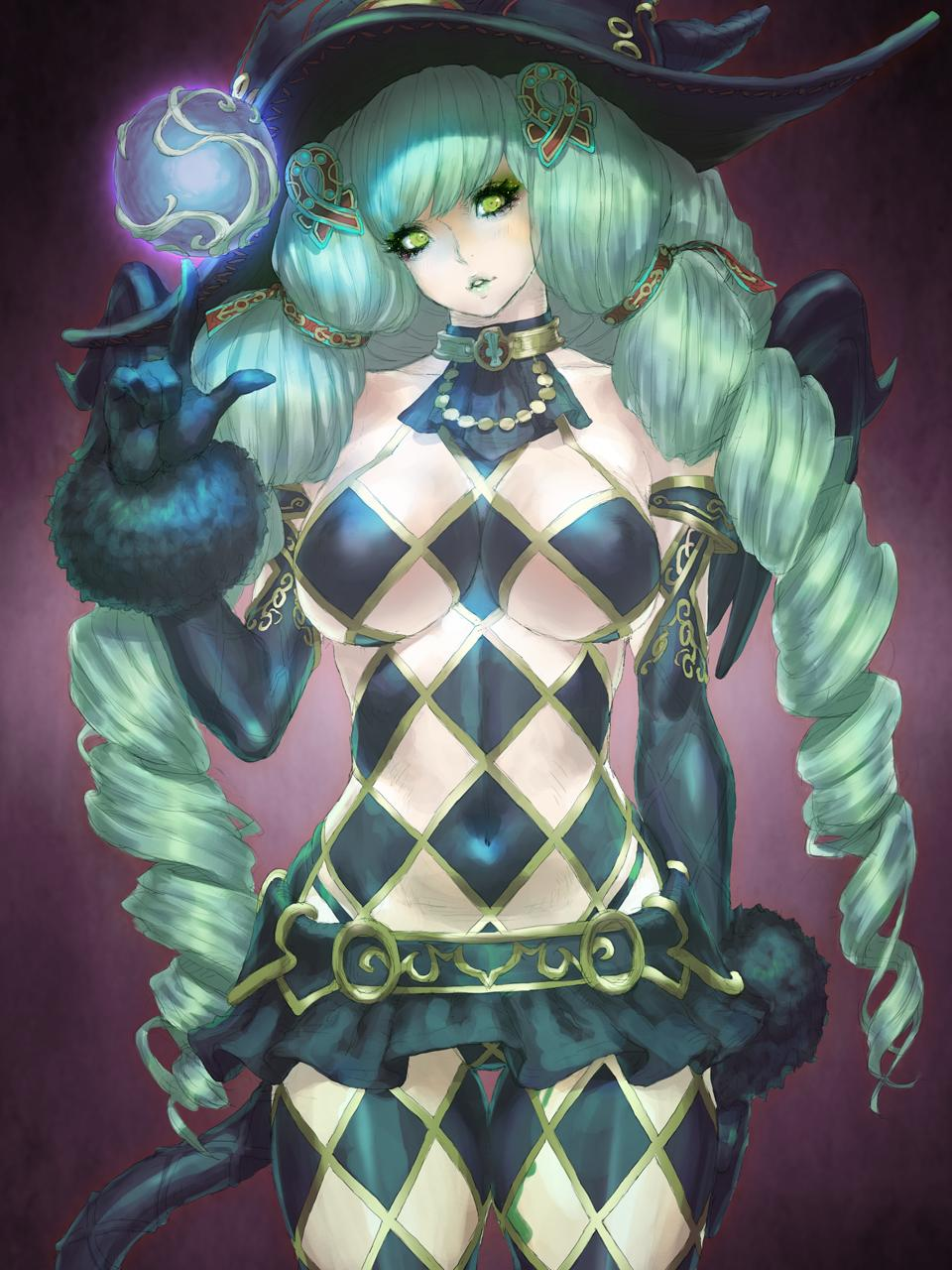 1girl black_gloves black_headwear breasts daichan_mona drill_hair elbow_gloves fiore_brunelli gloves green_hair hat highres large_breasts long_hair looking_at_viewer makeup revealing_clothes skirt solo star_ocean star_ocean_integrity_and_faithlessness witch_hat yellow_eyes