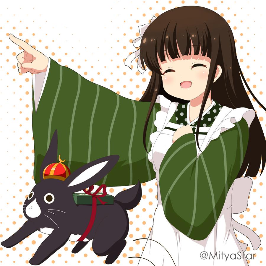 1girl :d ^_^ ama_usa_an_uniform animal anko_(gochiusa) apron bangs blush brown_hair closed_eyes commentary_request crown eyebrows_visible_through_hair flower frilled_apron frills gochuumon_wa_usagi_desu_ka? green_kimono hair_flower hair_ornament halftone halftone_background japanese_clothes kimono long_hair long_sleeves maid_apron miicha mini_crown open_mouth outstretched_arm polka_dot rabbit smile striped twitter_username ujimatsu_chiya uniform vertical-striped_kimono vertical_stripes very_long_hair waitress white_apron white_background white_flower wide_sleeves