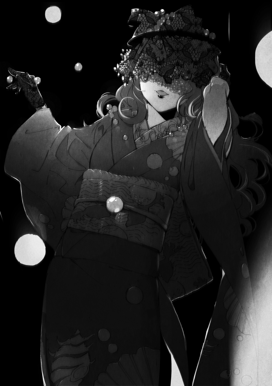 1girl arm_up bead_necklace beads black_background broken character_request covered_eyes cowboy_shot curly_hair dark facing_viewer gloves greyscale highres jewelry lace lipstick long_sleeves makeup mao_(takahashi_rumiko) medium_hair monochrome necklace obi outstretched_arm roku_(tsua-kihuyu) sash smile standing veil