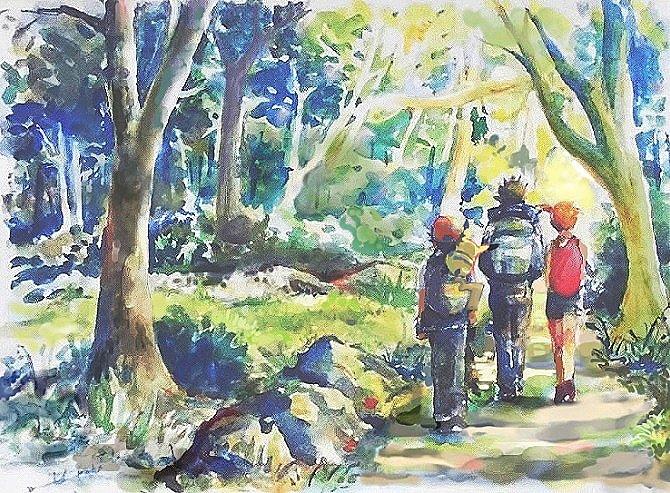 1girl 2boys arms_at_sides ash_ketchum backpack bag brock_(pokemon) day forest from_behind gen_1_pokemon grass jacket misty_(pokemon) multiple_boys nature orange_hair outdoors pants pikachu pokemon pokemon_(anime) pokemon_(classic_anime) pokemon_(creature) pokemon_on_back shorts side_ponytail standing tarettoki tree walking