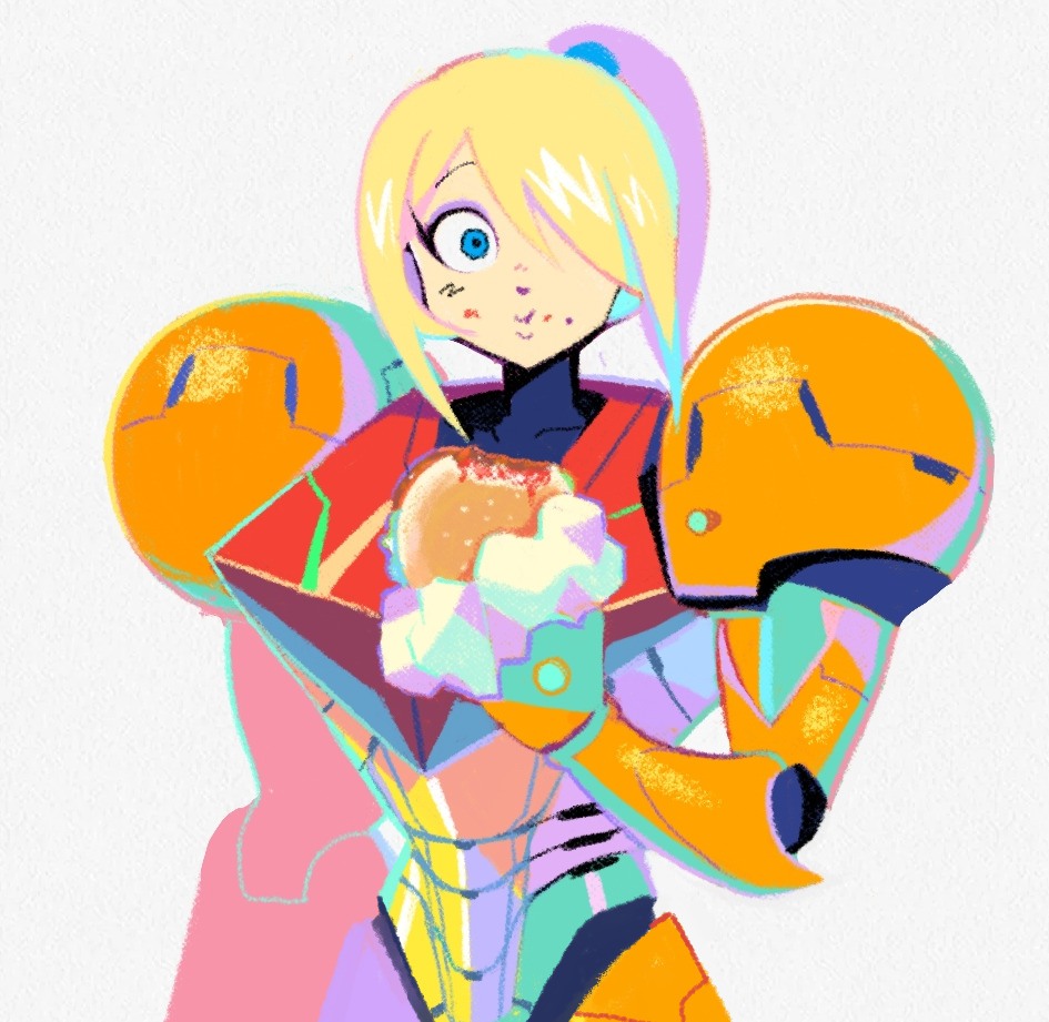 1girl :t arm_cannon armor blonde_hair blue_eyes denaseey eating flat_color food food_on_face hair_over_one_eye hamburger headwear_removed helmet helmet_removed high_ponytail holding holding_food looking_at_viewer metroid mole mole_under_mouth paper_texture ponytail power_armor power_suit samus_aran shoulder_pads sidelocks simple_background solo varia_suit weapon white_background