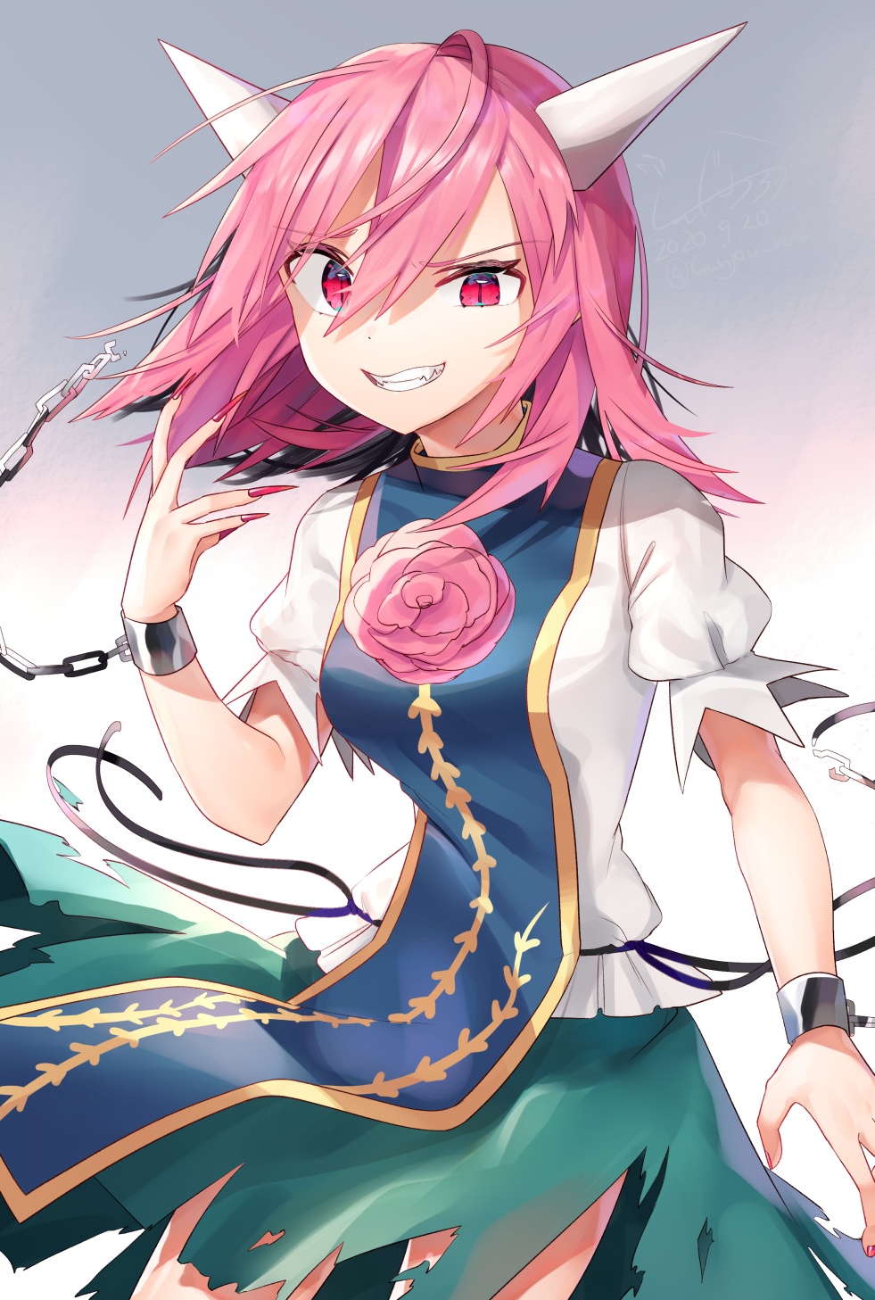 1girl arm_at_side arm_up breasts chain claws contrapposto cowboy_shot cuffs eyebrows_visible_through_hair fangs flower green_skirt gunjou_row highres horns ibaraki_douji's_arm ibaraki_kasen looking_at_viewer medium_breasts pink_eyes pink_flower pink_hair pink_rose puffy_short_sleeves puffy_sleeves red_nails rose shackles shirt short_sleeves simple_background skirt slit_pupils sneer solo standing tabard torn_clothes torn_skirt touhou uneven_eyes white_background white_shirt
