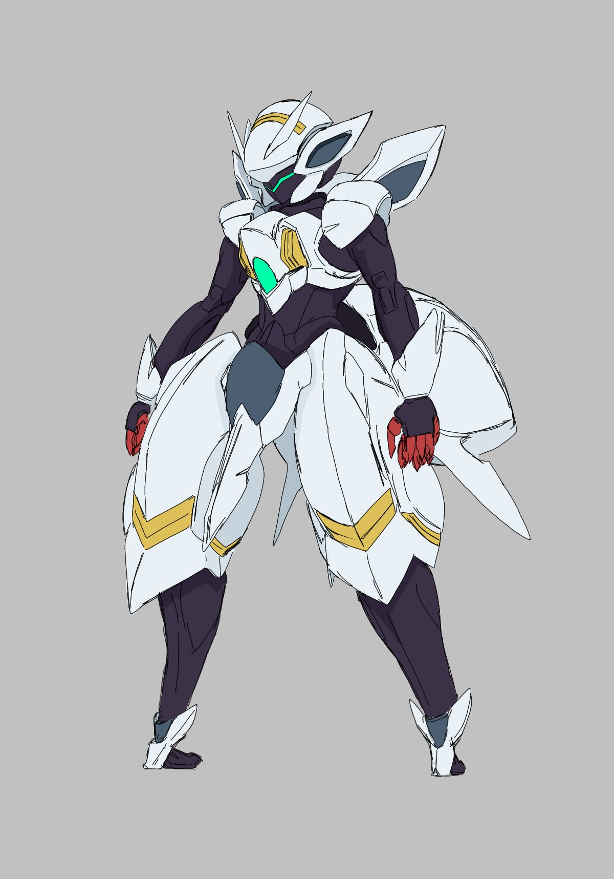 advance_of_zeta commentary_request dame_ningen_(paipaipaaipapai) grey_background gundam gundam_age highres looking_down mecha no_humans open_hands parody solo standing style_parody thick_thighs thighs tr-6_woundwort visor