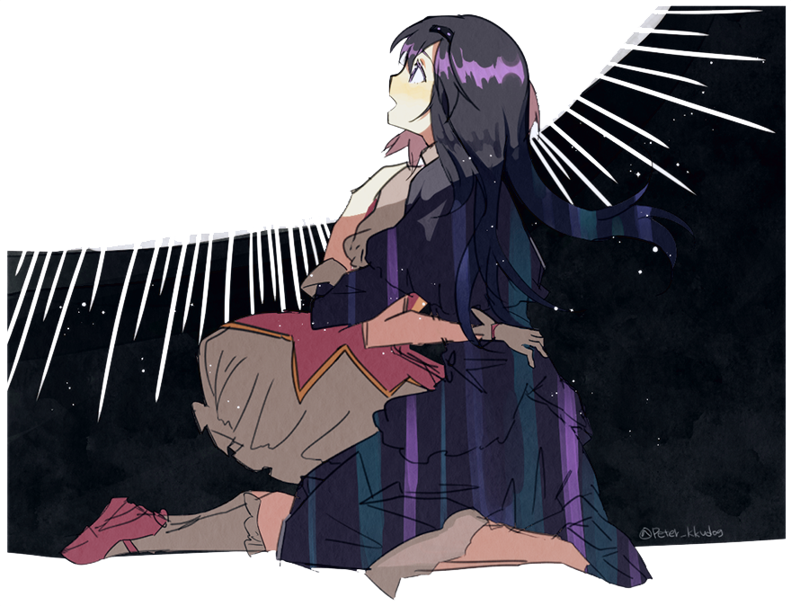 2girls akemi_homura black_background black_capelet black_dress black_footwear black_hair black_hairband border bubble_skirt capelet colorful commentary_request dark dark_background dress eyelashes floating_hair from_side full_body funeral_dress gloves hairband hands_on_another's_back hands_on_another's_waist happy homulilly hug kaname_madoka legs_together light light_blush light_particles light_rays light_smile long_hair looking_afar mahou_shoujo_madoka_magica mahou_shoujo_madoka_magica_movie multiple_girls open_mouth pc_(z_yu) pink_footwear profile shadow shiny shiny_hair short_sleeves sitting skirt socks straight_hair striped sun twitter_username two-tone_background white_background white_border white_gloves white_legwear white_skirt wide-eyed