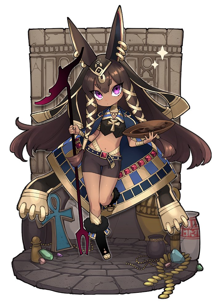 1girl animal_ears ankh anubis_(westxost) bike_shorts brown_hair closed_mouth earrings egyptian full_body hair_tubes holding jackal_ears jewelry long_hair looking_at_viewer midriff navel original polearm pot solo spear standing standing_on_one_leg thick_eyebrows thigh_gap violet_eyes weapon westxost_(68monkey) white_background