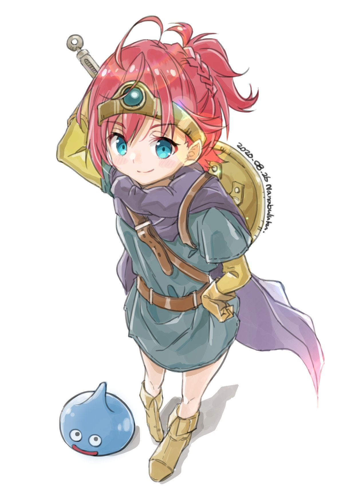 1girl ankle_boots asahina_akane_(nijisanji) blue_dress blue_eyes boots braid cape closed_mouth dated dragon_quest dress hand_on_hip highres holding holding_sword holding_weapon looking_at_viewer nanabuluku nijisanji ponytail purple_cape redhead shield signature simple_background slime_(dragon_quest) smile solo standing sword weapon white_background