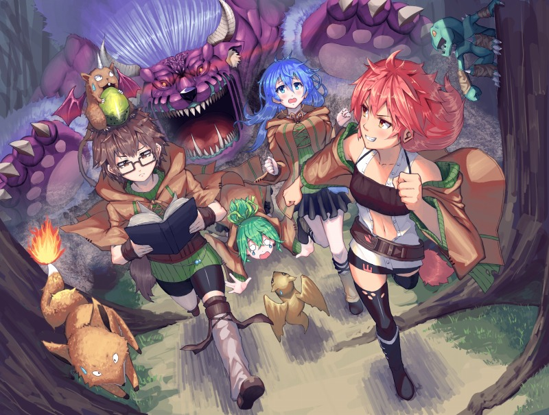 4girls acorn archfiend_marmot_of_nefariousness armband aussa badominton behemoth behemoth_the_king_of_all_animals belt bike_shorts blank_eyes blue_eyes blue_hair blush book breasts brown_eyes brown_hair chasing claws commentary_request demon_tail demon_wings dragon duel_monster eria fallen_down fangs forest fox fox_fire_(yuu-gi-ou) gigobyte glasses green_hair grin hiita large_breasts lizardman long_hair looking_back midriff monster multiple_girls nature open_mouth orange_eyes outdoors partial_commentary petit_dragon reading redhead robe running shoes short_hair skirt smile squirrel sweatdrop sweater tail tears thigh-highs tree wings worried wynn yuu-gi-ou zettai_ryouiki