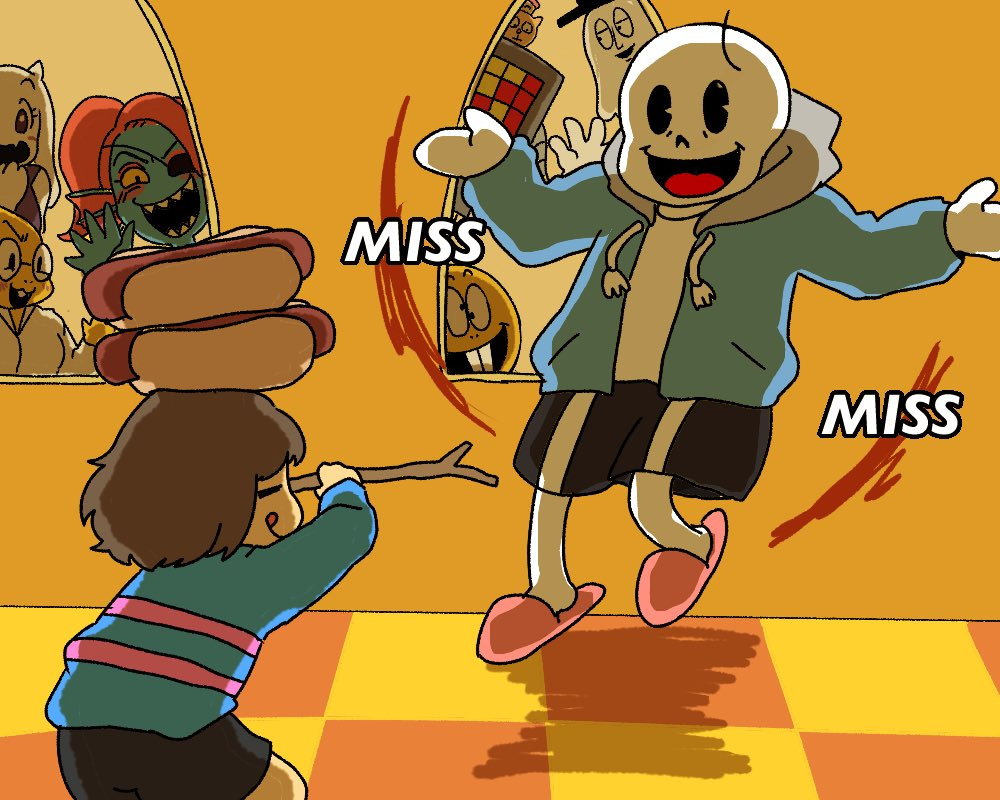2girls 3boys 3others against_window alphys black_shorts bob_cut brown_hair buck_teeth burgerpants checkered checkered_floor commentary frisk_(undertale) gameplay_mechanics ghost glasses hat hood hoodie horns mettaton monster_girl monster_kid_(undertale) multiple_boys multiple_girls multiple_others napstablook pac-man_eyes pink_footwear ponytail sans sharp_teeth shorts shrugging skeleton slippers spoilers stick striped striped_sweater sweater teeth tongue tongue_out top_hat toriel undertale undyne