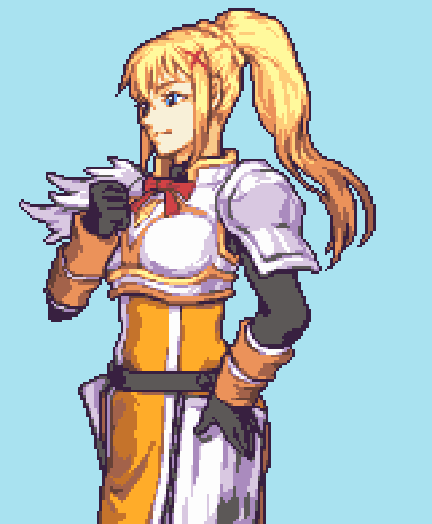 1girl blonde_hair blue_background blue_eyes darkness_(konosuba) english_commentary fire_emblem glaceo hand_on_hip knight kono_subarashii_sekai_ni_shukufuku_wo! looking_ahead parody pixel_art ponytail solo style_parody tied_hair