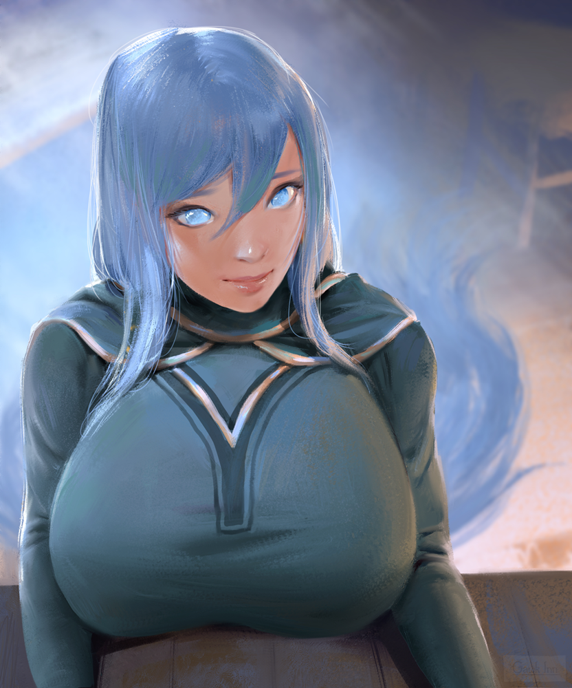 1girl blue_eyes blue_hair breast_rest breasts commentary commission english_commentary gawk_inn goddess hair_ornament huge_breasts light_smile lips long_hair nose original portrait solo table very_long_hair
