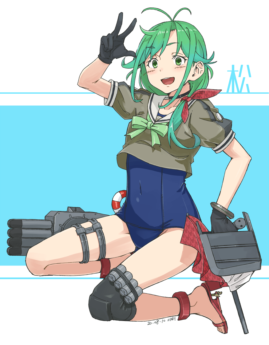 1girl artist_name black_gloves blue_swimsuit blush character_name dated eyebrows_visible_through_hair full_body gloves green_eyes green_hair kantai_collection kawashina_(momen_silicon) long_hair machinery matsu_(kantai_collection) old_school_swimsuit open_mouth rigging sailor_collar sandals school_swimsuit short_sleeves signature smile solo swimsuit swimsuit_under_clothes toes torpedo turret upper_teeth v white_sailor_collar
