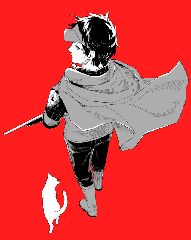 1boy animal cape cat from_above from_behind full_body gun long_sleeves looking_away looking_to_the_side monochrome oki_kouji pants red_background rifle sake_(kadai) simple_background solo uniform visor_cap walking weapon world_trigger