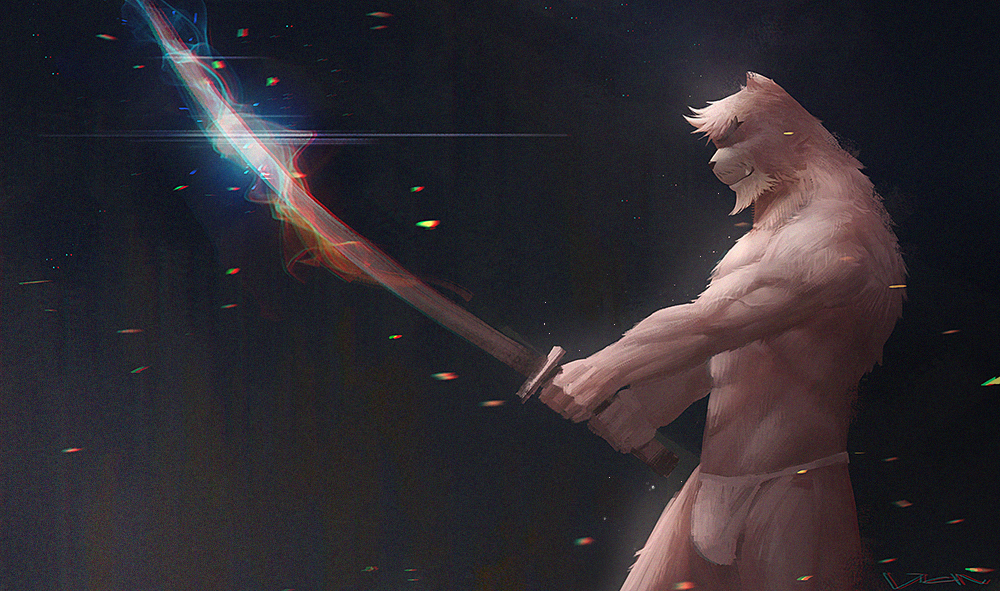 1boy abs animal_ears bakemono_no_ko bara bare_chest bear_boy bear_ears beard brown_fur brown_hair bulge chest closed_eyes facial_hair feet_out_of_frame fighting_stance from_side furry katana kumatetsu loincloth male_focus manly muscle short_hair solo sword thick_eyebrows thick_thighs thighs underwear underwear_only vian weapon