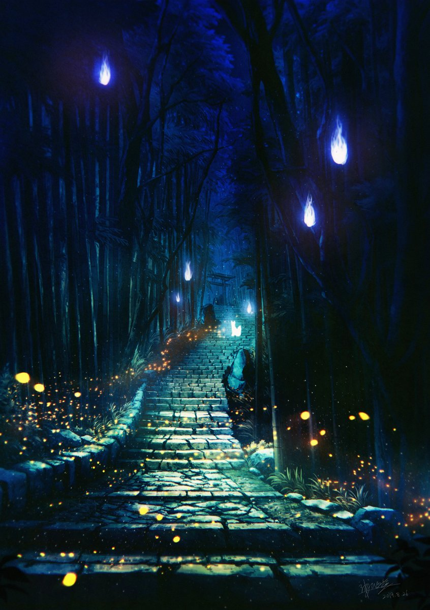 2019 commentary_request dated forest glowing highres kaminaga_mutsumi nature night no_humans original outdoors scenery signature stairs torii tree watermark
