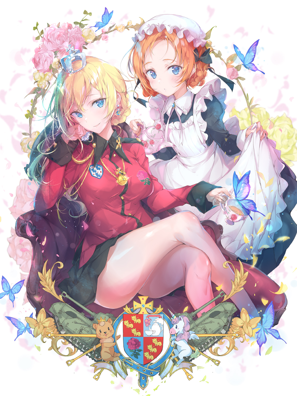 2girls alternate_costume apron blonde_hair blue_eyes breasts bug butterfly cheek_rest coat_of_arms crossed_legs cup darjeeling_(girls_und_panzer) enmaided flower girls_und_panzer highres insect maid maid_apron maid_headdress medium_breasts multiple_girls orange_hair orange_pekoe_(girls_und_panzer) pulp_piroshi rose smile st._gloriana's_military_uniform teacup thighs unicorn_(azur_lane)