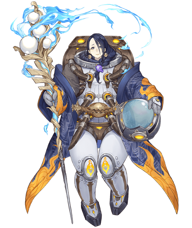 1girl backpack bag blue_eyes blue_hair bodysuit_under_clothes braid earrings full_body headwear_removed helmet helmet_removed holding holding_helmet holding_staff jewelry ji_no kaguya_hime_(sinoalice) looking_at_viewer mittens official_art sinoalice skull solo spacesuit staff transparent_background tube