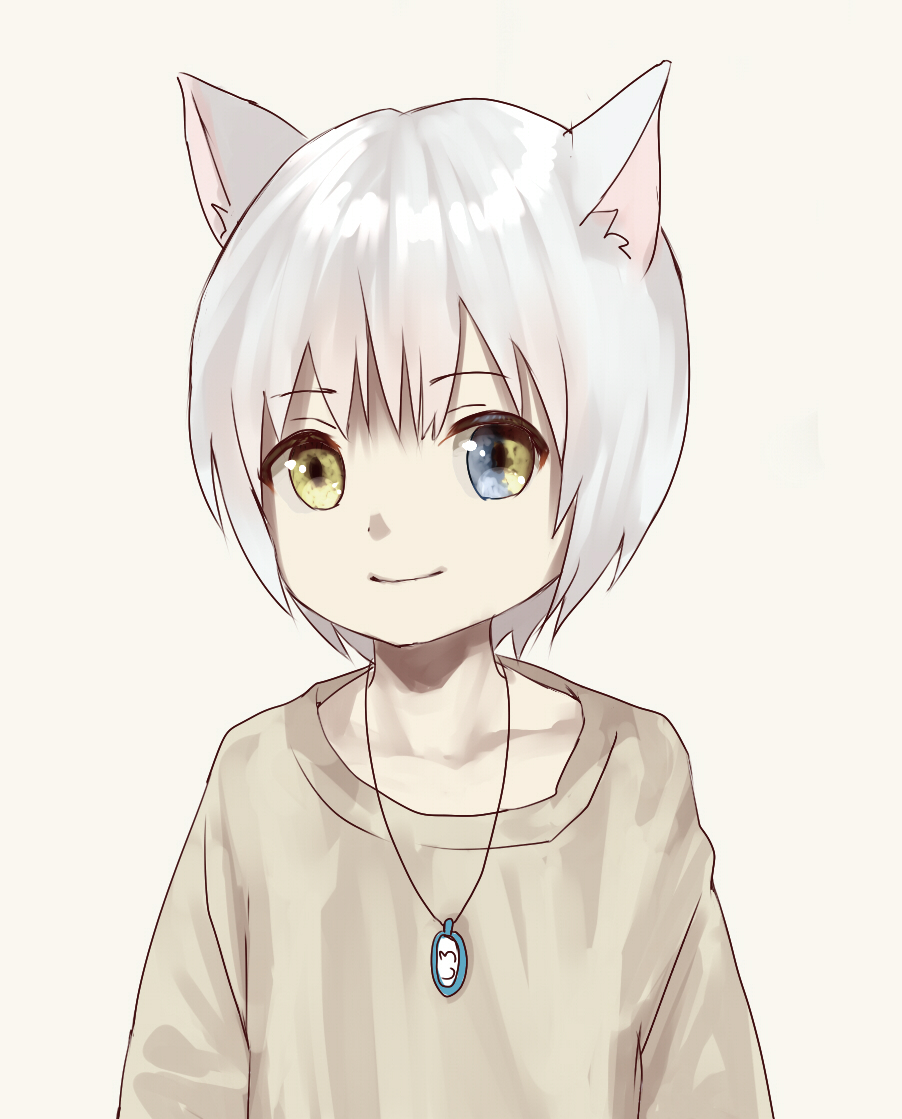 1boy animal_ears beige_background blue_eyes cat_boy cat_ears collarbone heterochromia jewelry looking_at_viewer male_focus multicolored multicolored_eyes necklace original simple_background smile solo sweater takanoberii yellow_eyes