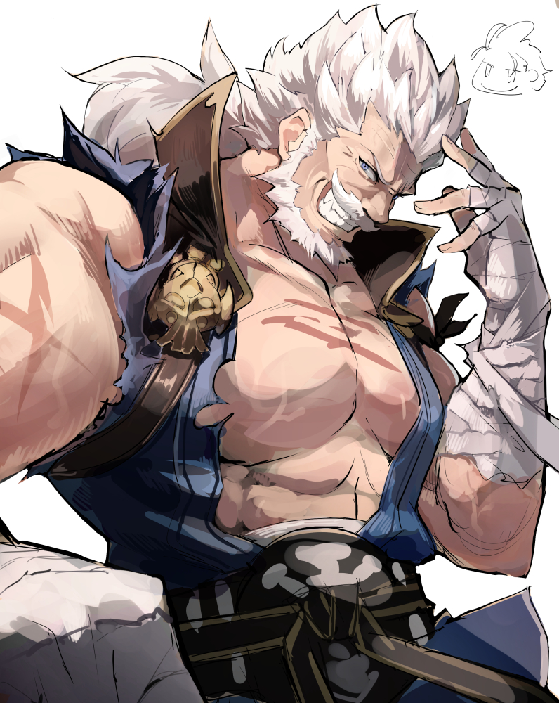 bandaged_arm bandages beard blue_eyes clenched_hand facial_hair granblue_fantasy grin kekemotsu male_focus muscle mustache pectorals scar smile soriz white_background white_hair