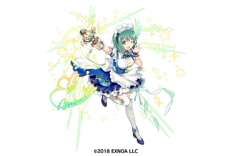 1girl apron aqua_hair artist_request bangs blue_footwear breasts full_body gemini_seed looking_at_viewer maid maid_apron maid_headdress official_art one_eye_closed open_mouth short_hair short_sleeves simple_background solo watermark white_background white_legwear