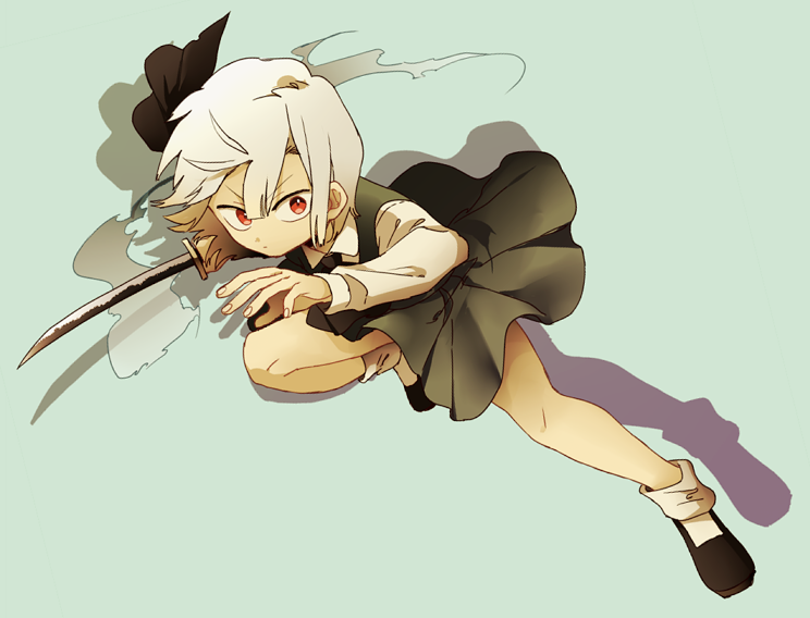 1girl black_bow black_footwear blue_background bow closed_mouth drop_shadow green_skirt green_vest hair_bow holding holding_sword holding_weapon ka_(marukogedago) katana konpaku_youmu konpaku_youmu_(ghost) long_sleeves looking_at_viewer red_eyes shirt shoes short_hair simple_background skirt socks solo standing standing_on_one_leg sword touhou vest weapon white_hair white_legwear white_shirt wide-eyed