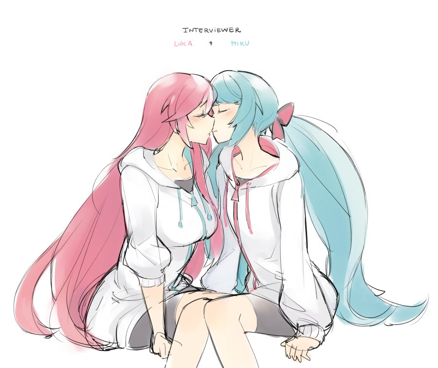 2girls alternate_hairstyle bikini blush bow breasts character_name closed_eyes commentary drawstring english_commentary english_text flat_chest ge-b green_hair hair_bow hatsune_miku hood hood_down hoodie imminent_kiss interviewer_(vocaloid) invisible_chair large_breasts long_hair low_twintails megurine_luka multiple_girls pink_bow pink_hair sitting sketch sleeves_past_wrists sleeves_pushed_up swimsuit twintails very_long_hair vocaloid white_background white_hoodie yuri zipper