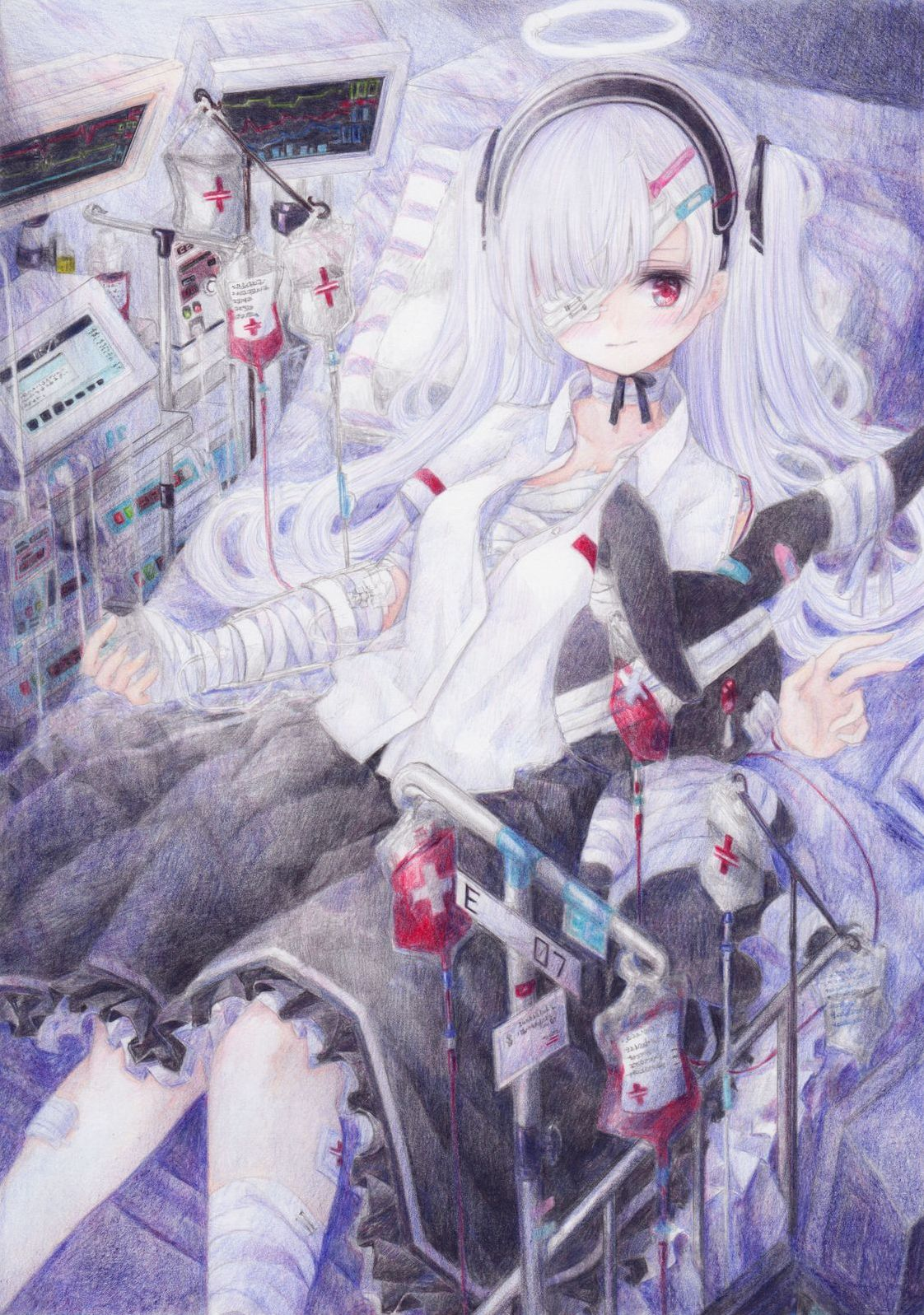 1girl angel bag bandages bed blood blood_bag blush breasts colored_pencil_(medium) darkkanan eyepatch graphite_(medium) hairband halo highres hospital hospital_bed intravenous_drip legs long_hair lying original pillow red_eyes small_breasts stuffed_animal stuffed_toy traditional_media twintails white_hair