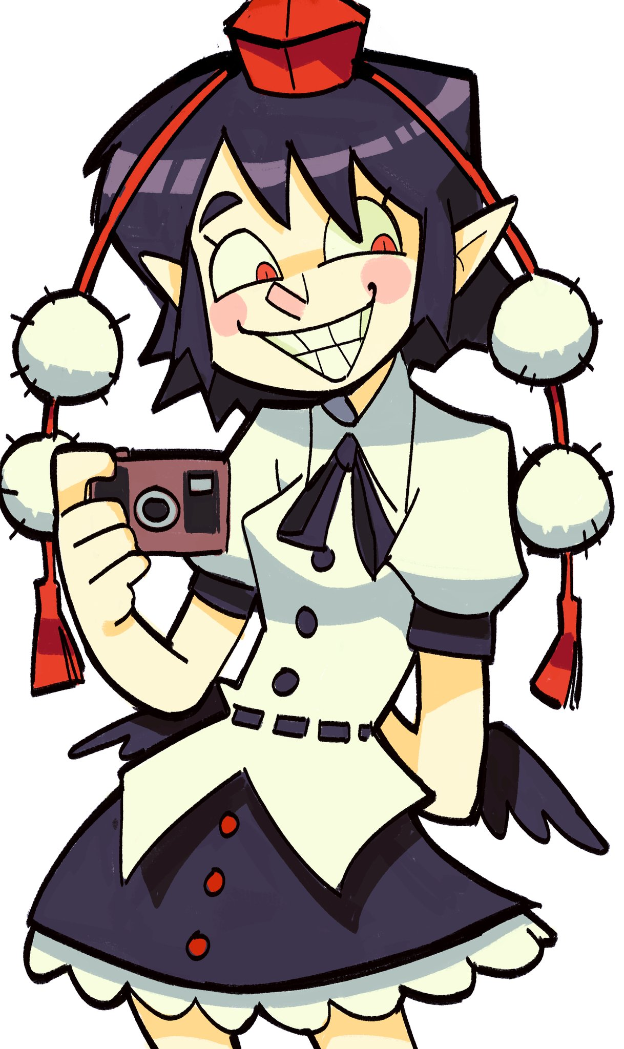 1girl arm_behind_back bangs black_hair black_neckwear black_wings blush_stickers breasts buttons camera commentary cowboy_shot frilled_skirt frills grin hair_over_one_eye hat highres holding holding_camera legs_apart looking_away low_wings neck_ribbon pointy_ears pom_pom_(clothes) puffy_short_sleeves puffy_sleeves red_eyes red_headwear ribbon sh1tty2 shameimaru_aya shirt short_hair short_sleeves simple_background skirt slit_pupils smile solo symbol_commentary teeth thick_eyebrows tokin_hat touhou white_background wings
