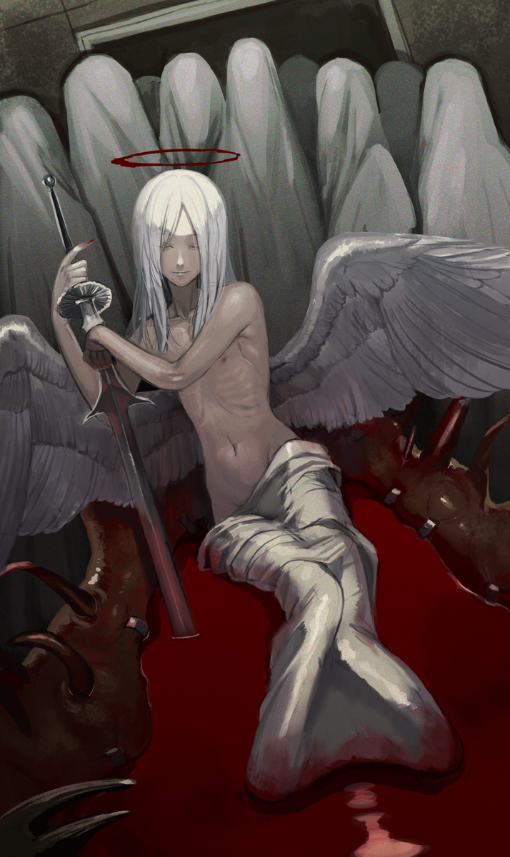 1boy 6+others angel angel_wings bath bath_of_blood blood blood_stain closed_eyes closed_mouth collarbone halo highres holding holding_sword holding_weapon indoors kyo_niku long_hair low_wings male_focus multiple_others navel nipples original smile sword weapon white_hair wings