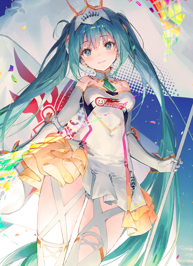 1girl aqua_eyes aqua_hair arm_guards armor bangs breasts closed_mouth commentary_request detached_collar dress dsmile elbow_gloves eyebrows_visible_through_hair gloves goodsmile_racing hair_ornament hatsune_miku head_tilt holding lips logo long_hair looking_at_viewer medium_breasts polearm racing_miku shiny shiny_hair shiny_skin short_dress simple_background smile solo strapless strapless_dress thigh-highs tied_hair twintails weapon white_gloves zettai_ryouiki