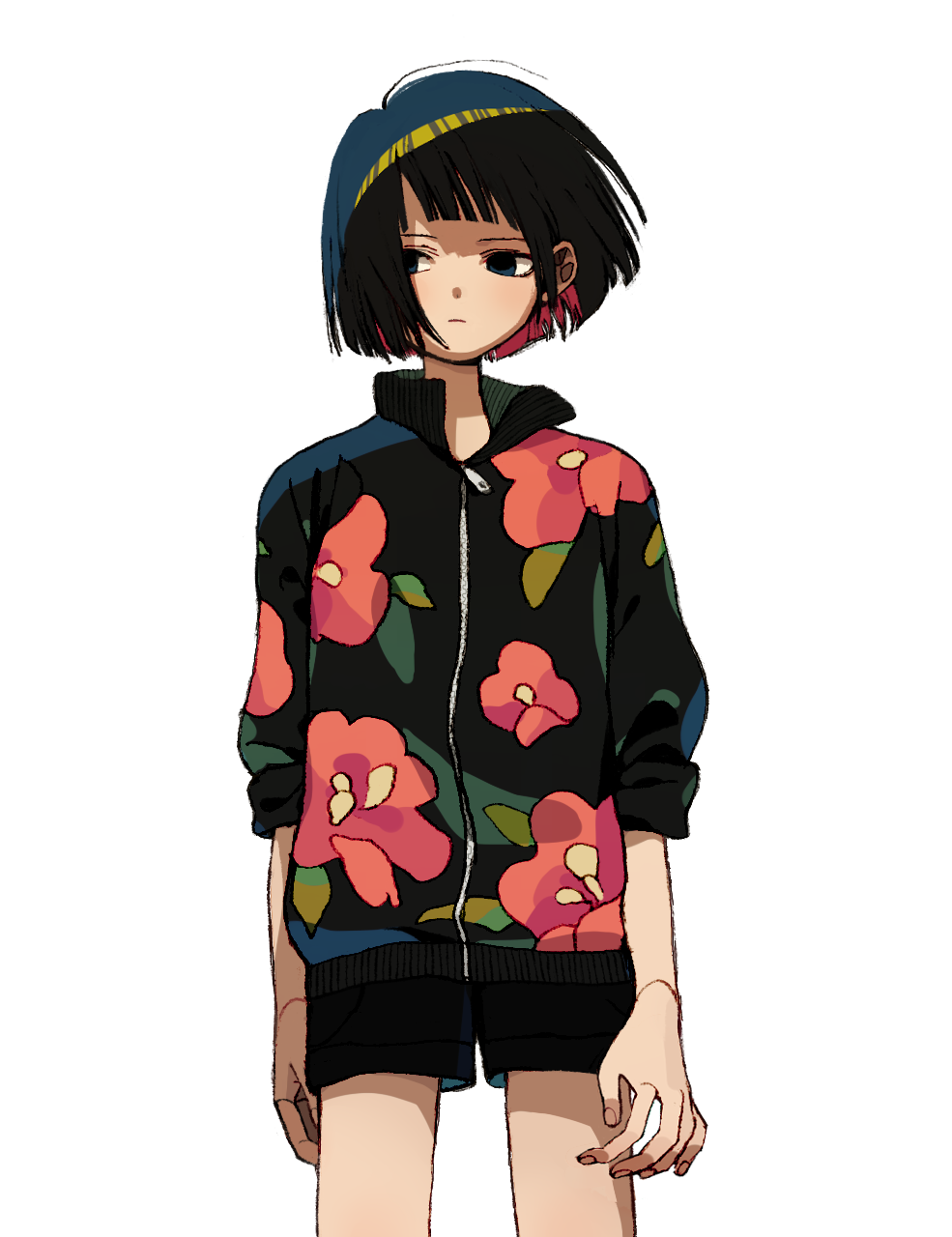 1girl black_eyes black_hair black_shorts closed_mouth colored_inner_hair fingernails floral_print highres jacket ka_(marukogedago) looking_to_the_side multicolored_hair original shiny shiny_hair shorts simple_background solo standing white_background