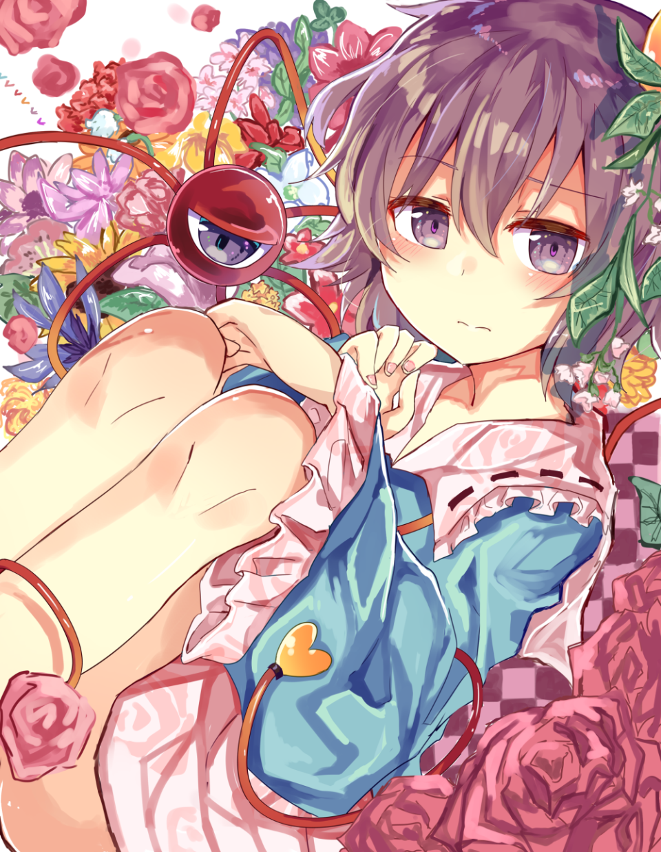 1girl ass blouse blue_blouse blush buttons checkered eyeball feet_out_of_frame floral_print flower flower_request frilled_shirt_collar frilled_sleeves frills hairband hand_on_own_chest heart highres knee_to_chest komeiji_satori legs_together long_sleeves looking_at_viewer multiple_girls pink_skirt purple_hair ribbon-trimmed_collar ribbon_trim rose short_hair skirt solo thighs third_eye to-den_(v-rinmiku) touhou violet_eyes wide_sleeves