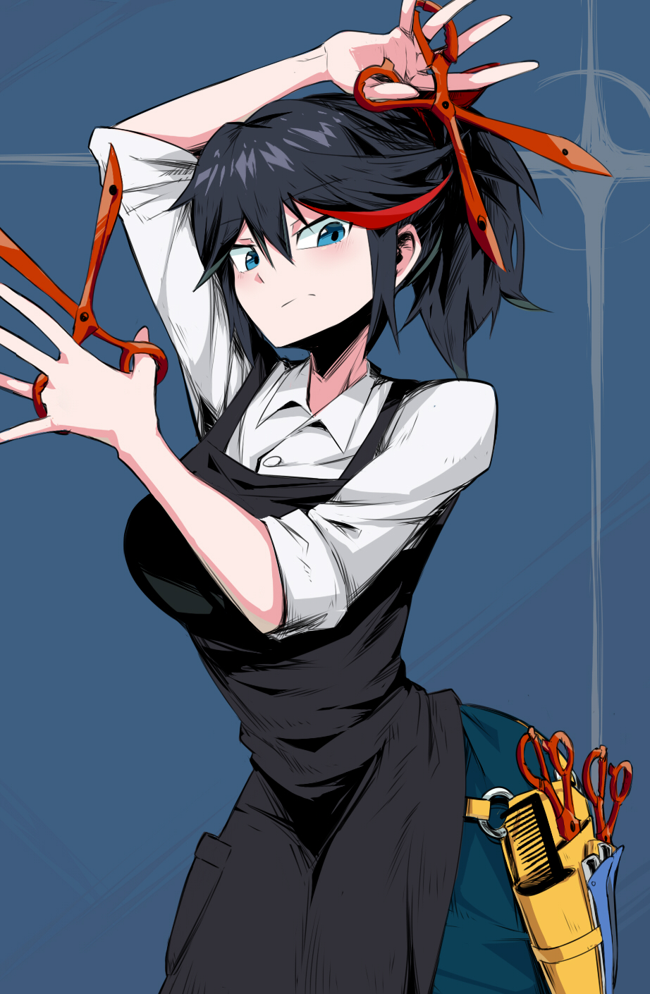 1girl alternate_hairstyle apron black_apron black_hair blue_eyes breasts dual_wielding hairdressing highres holding holster kill_la_kill large_breasts long_hair matoi_ryuuko multicolored_hair pants ponytail scissor_blade scissors shimure_(460) solo streaked_hair thigh_holster