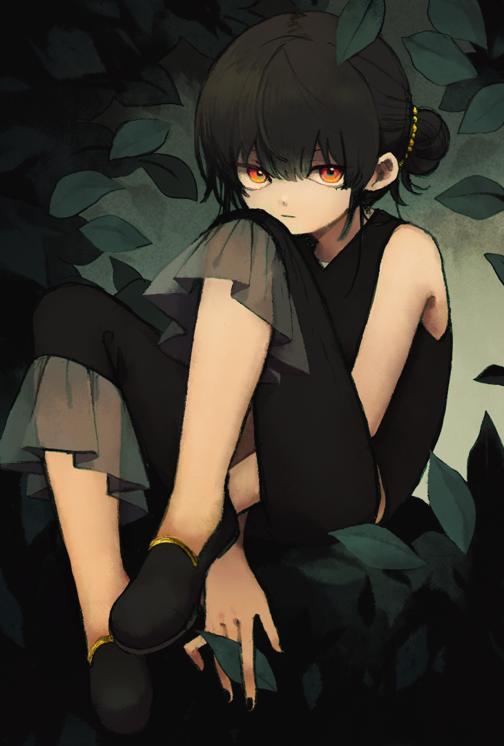 1girl between_legs black_hair black_nails black_pants closed_mouth expressionless fingernails hair_bun hand_between_legs ka_(marukogedago) leaf looking_at_viewer nail_polish orange_eyes original pants ringed_eyes shirt sleeveless sleeveless_shirt solo