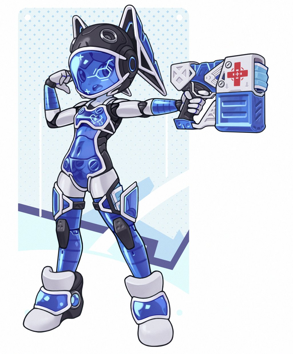 1girl android english_commentary finger_on_trigger flat_chest full_body gun handgun helmet highres joints legs_apart looking_at_viewer looking_to_the_side lordyanyu mask mouth_mask navel original red_cross robot_joints see-through simple_background solo standing surgical_mask upper_teeth visor weapon