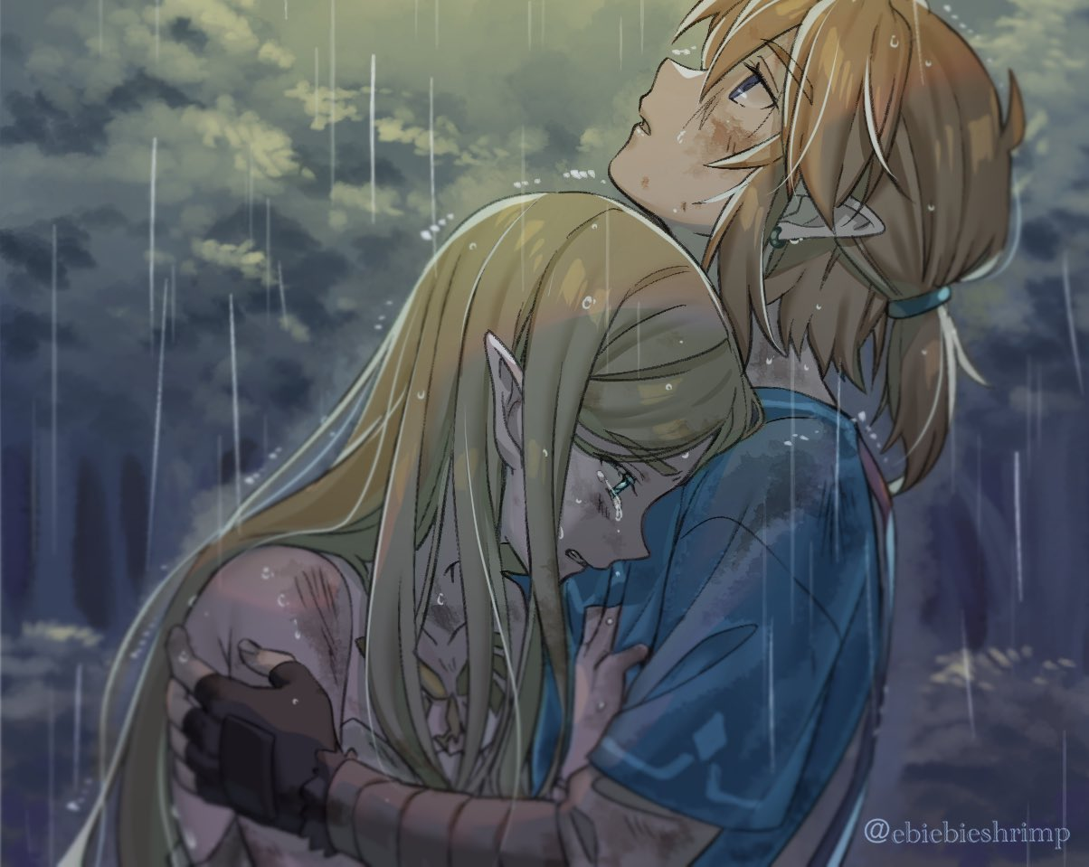 1boy 1girl bare_shoulders blonde_hair blue_eyes blue_shirt blurry clenched_teeth commentary crying depth_of_field dirty dirty_face dress earrings eyebrows_visible_through_hair fingerless_gloves forest from_side gloves hug jewelry link long_hair looking_up nature outdoors parted_lips pointy_ears princess_zelda profile rain shirt shirt_grab short_hair short_ponytail shuri_(84k) straight_hair tears teeth the_legend_of_zelda the_legend_of_zelda:_breath_of_the_wild tree twitter_username upper_body white_dress
