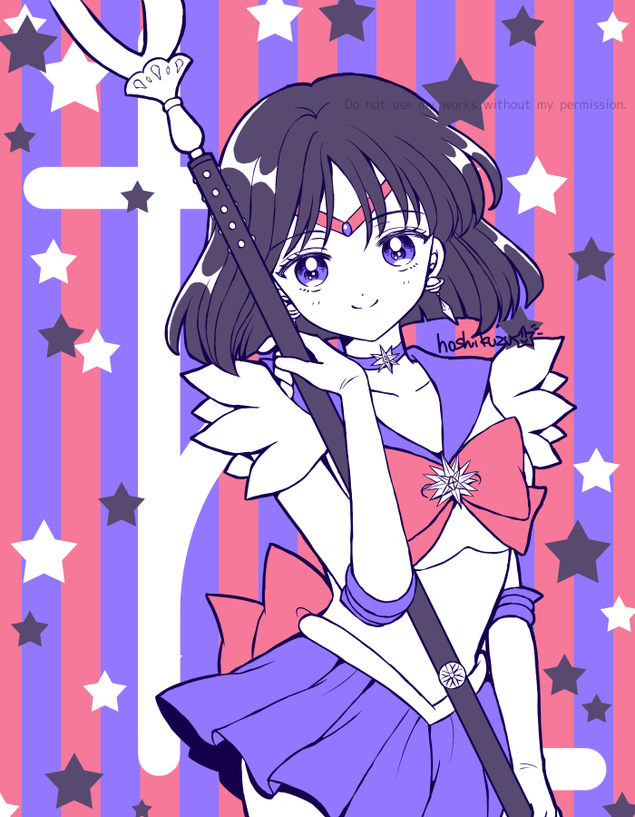 1girl back_bow bishoujo_senshi_sailor_moon black_hair bow brooch choker circlet closed_mouth collarbone cowboy_shot disconnected_mouth elbow_gloves gloves holding holding_spear holding_weapon hoshikuzu_(milkyway792) jewelry limited_palette looking_at_viewer magical_girl multicolored multicolored_background pleated_skirt polearm purple_neckwear purple_sailor_collar purple_skirt red_bow repost_notice sailor_collar sailor_saturn sailor_senshi_uniform saturn_symbol short_hair signature silence_glaive skirt smile solo spear star_(symbol) star_choker striped striped_background tomoe_hotaru violet_eyes weapon white_gloves