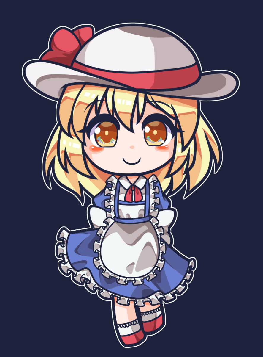 apron artist_request blonde_hair blue_background blue_dress blush bow dress eyebrows_visible_through_hair frilled_apron frilled_skirt frills hat hat_bow highres kana_anaberal puffy_short_sleeves puffy_sleeves red_footwear red_ribbon ribbon short_hair short_sleeves simple_background skirt smile socks touhou touhou_(pc-98) white_headwear yellow_eyes