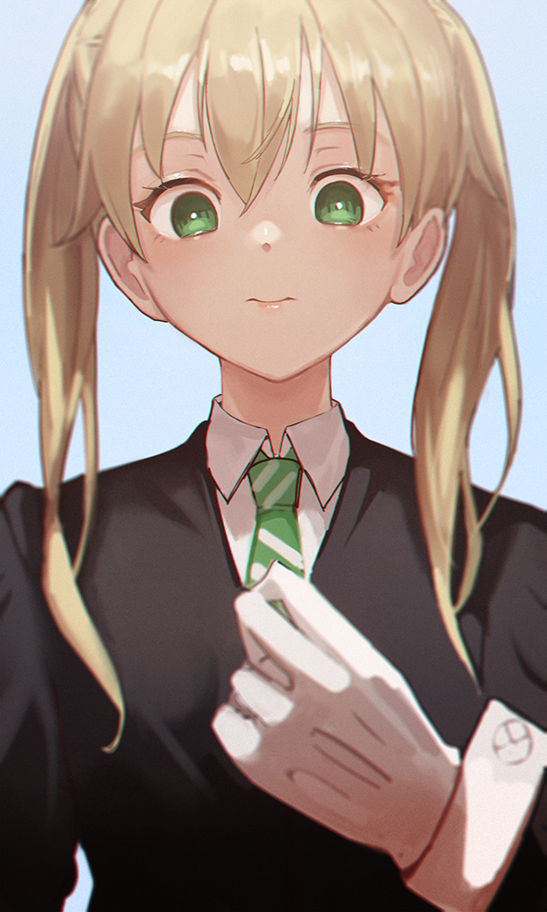 1girl bangs blonde_hair blue_background closed_mouth from_below gloves green_eyes green_neckwear hair_over_shoulder lips long_hair long_sleeves looking_at_viewer looking_down maka_albarn moth1 necktie simple_background sleeve_cuffs solo soul_eater soul_eater_(character) striped striped_neckwear twintails upper_body white_gloves