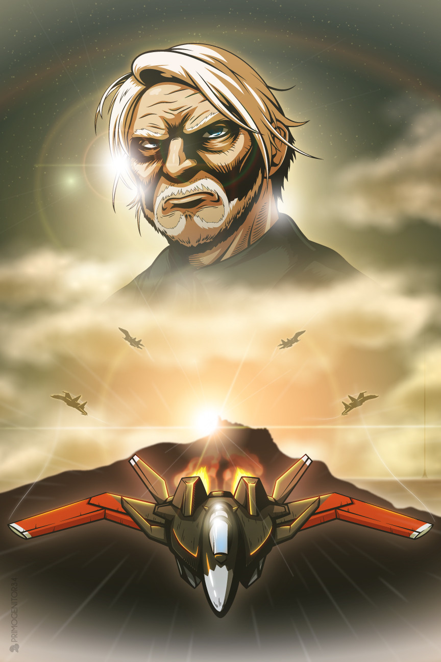 1boy ace_combat ace_combat_7 aircraft airplane beard blue_eyes clouds cloudy_sky commentary english_commentary facial_hair fighter_jet highres jet lens_flare male_focus mihaly_a_shilage military military_vehicle old_man primogenitor34 sky su-30 sun vector_art white_hair x-02s_strike_wyvern