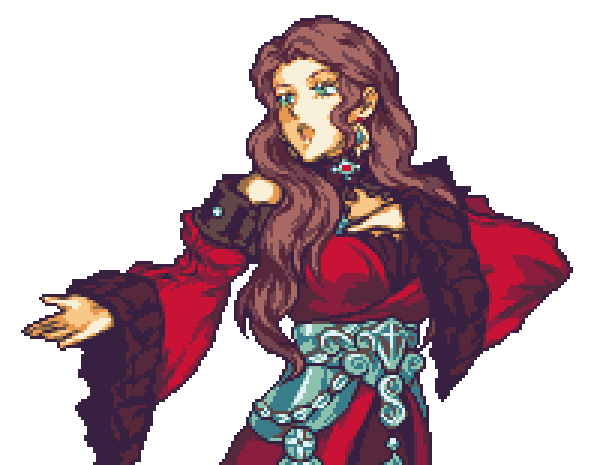 1girl bare_shoulders breasts brown_hair curly_hair dorothea_arnault dress earrings english_commentary fire_emblem fire_emblem:_three_houses frilled_dress frills glaceo green_eyes hand_on_hip jewelry long_hair looking_ahead open_mouth parody pixel_art red_dress solo style_parody