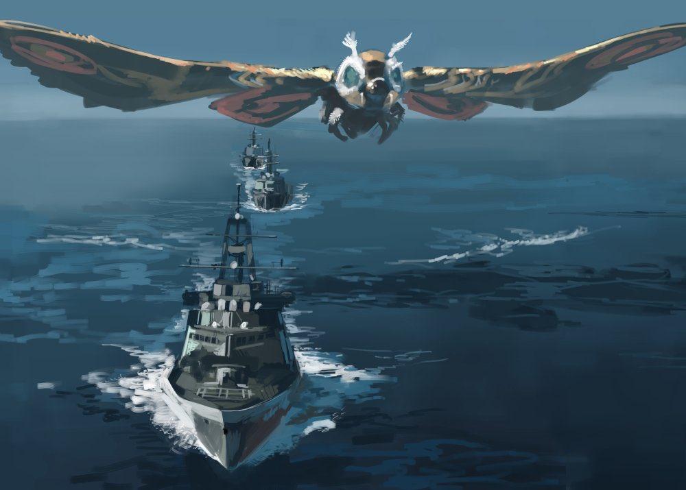 blue_eyes flying godzilla_(series) junny kaijuu looking_ahead military mothra navy no_humans ocean ship water watercraft