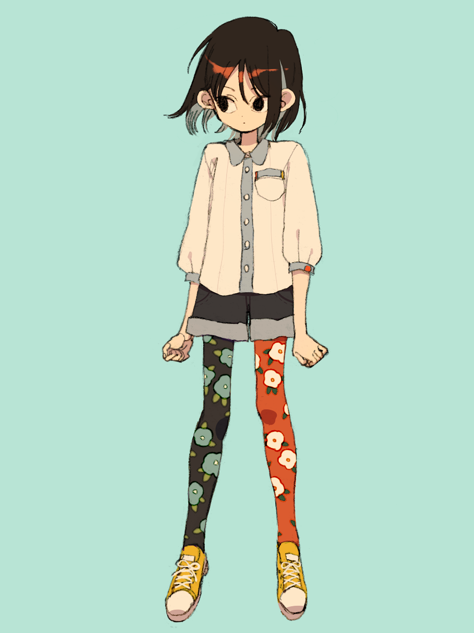 1girl black_eyes black_legwear black_shorts blue_background breast_pocket brown_hair closed_mouth floral_print full_body highres ka_(marukogedago) long_sleeves looking_to_the_side mismatched_legwear original pantyhose pocket red_legwear shiny shiny_hair shirt shoes short_shorts shorts simple_background solo standing white_shirt yellow_footwear