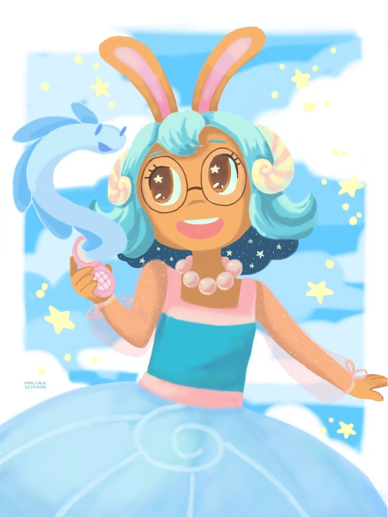 1girl :d animal_ears artist_name blue_dress blue_hair blue_sky blue_theme border brown_eyes buck_teeth cellphone clouds commentary creature cucumber_quest dark_skin dated day dress eel english_commentary glasses hair_ornament jewelry kika_lala liquus long_sleeves looking_at_another necklace open_mouth outdoors outside_border outstretched_arm pearl_necklace phone pointy_ears princess_nautilus puffy_long_sleeves puffy_sleeves rabbit rabbit_ears round_eyewear see-through_sleeves short_hair sky smile star_(symbol) star_hair_ornament white_border