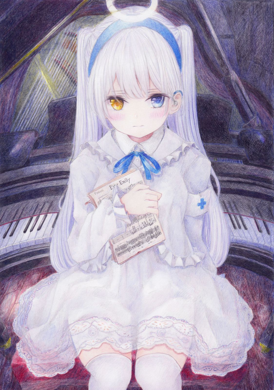 armband blush colored_pencil_(medium) darkkanan dress eyes_visible_through_hair graphite_(medium) hairband halo highres indoors instrument lolita_fashion long_hair looking_at_viewer multicolored multicolored_eyes original piano sitting thigh-highs traditional_media twintails white_dress white_hair white_legwear